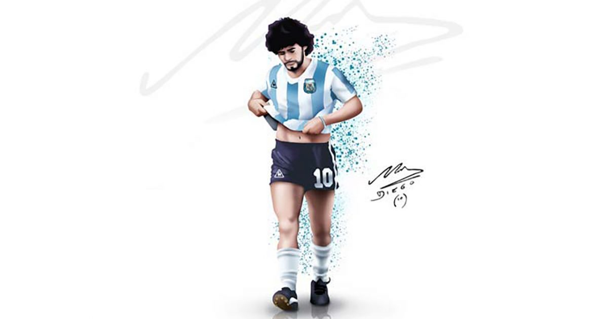 Diego Maradona Autographed Sketch In Argentina Colors