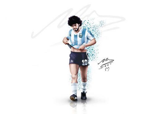 Diego Maradona Autographed Sketch In Argentina Colors