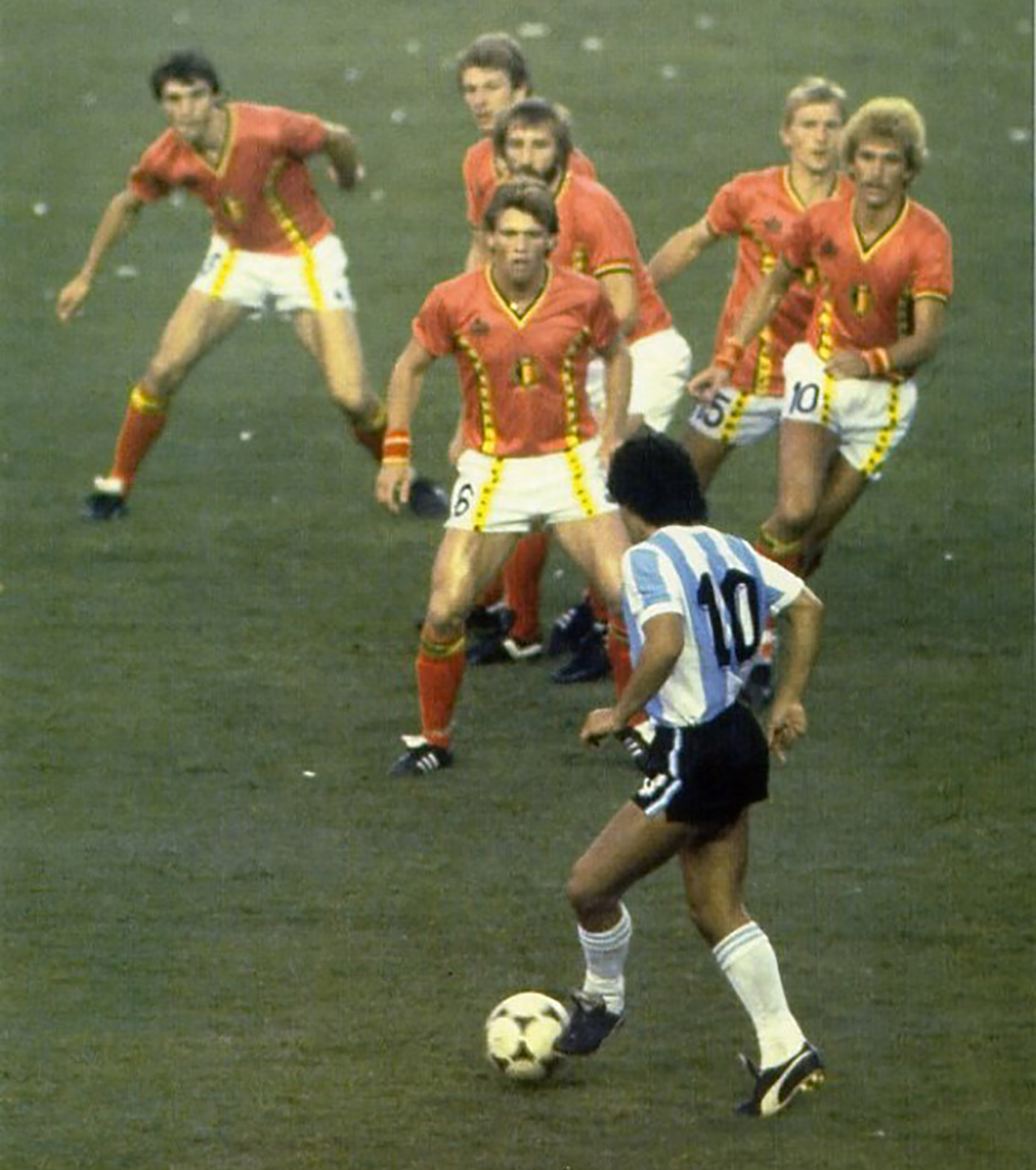 Diego Maradona Getting A Little Attention From Belgium Players